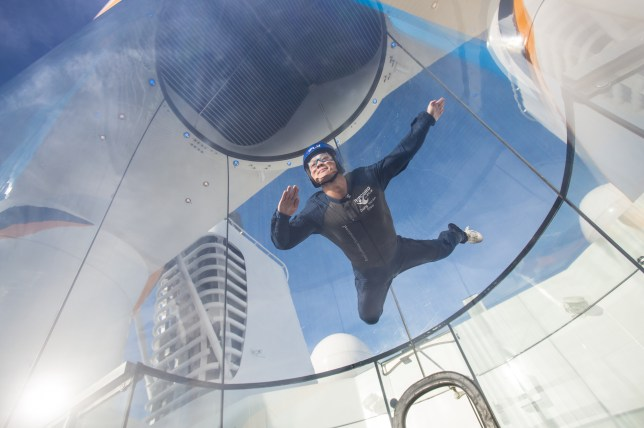 Flying at sea: The skydiving simulator on Quantum of the Seas (Picture: Simon Brooke-Webb/Royal Caribbean)