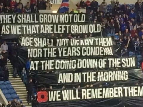 Glasgow Rangers fans unfurl classy banner against Falkirk for Remembrance Day