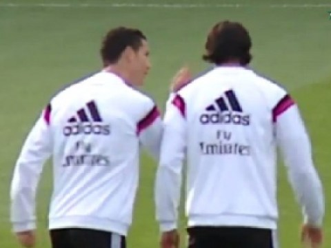 Cristiano Ronaldo tells off Sami Khedira for trying to nutmeg him during Real Madrid training