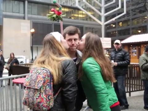 This man walked around with a mistletoe contraption and people found it cute