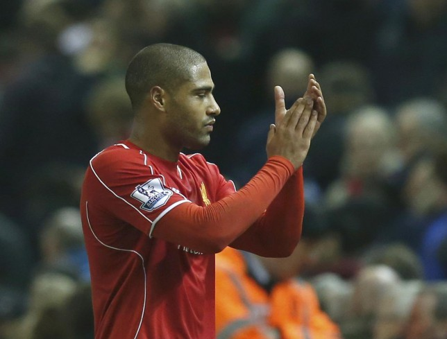 Liverpool's Glen Johnson reacts after their English Premier League soccer match against Stoke City at Anfield in Liverpool, northern England November 29, 2014. REUTERS/Phil Noble (BRITAIN - Tags: SOCCER SPORT) FOR EDITORIAL USE ONLY. NOT FOR SALE FOR MARKETING OR ADVERTISING CAMPAIGNS. EDITORIAL USE ONLY. NO USE WITH UNAUTHORIZED AUDIO, VIDEO, DATA, FIXTURE LISTS, CLUB/LEAGUE LOGOS OR 'LIVE' SERVICES. ONLINE IN-MATCH USE LIMITED TO 45 IMAGES, NO VIDEO EMULATION. NO USE IN BETTING, GAMES OR SINGLE CLUB/LEAGUE/PLAYER PUBLICATIONS. Phil Noble/Reuters