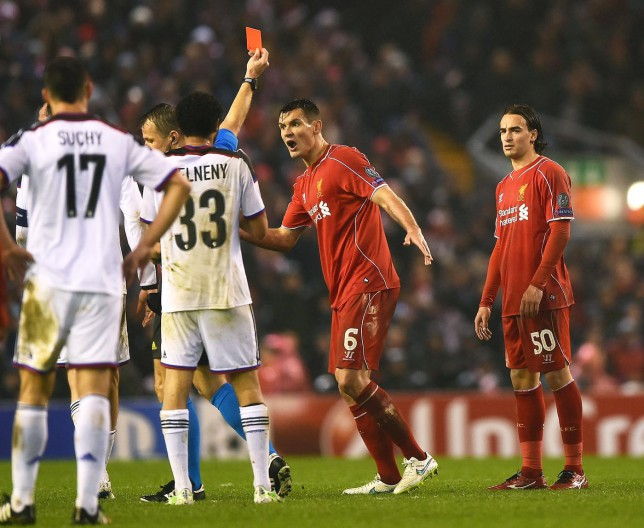 Lazar Markovic is controversially sent off during Liverpool's Champions League match against Basel