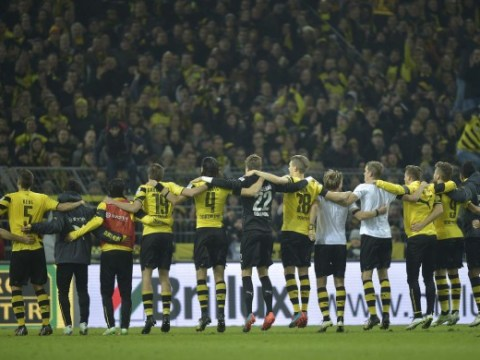 Borussia Dortmund fans get into the festive spirit after singing Jingle Bells to celebrate Hoffenheim win