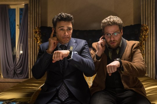 """This image released by Columbia Pictures shows James Franco, left, and Seth Rogen in """"The Interview."""" The comedy is set for release in 2014 on Christmas Day. (AP Photo/Columbia Pictures, Sony, Ed Araquel) AP Photo/Columbia Pictures, Sony, Ed Araquel"""