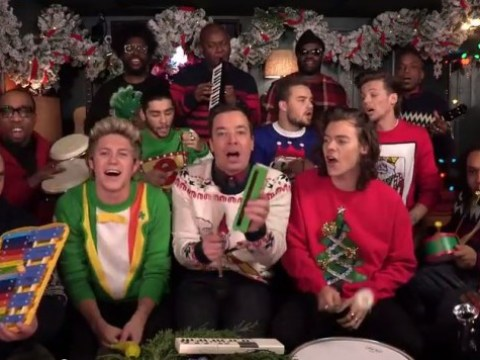 The ultimate Christmas jam: One Direction and Jimmy Fallon play Santa Claus Is Coming To Town on children's intruments