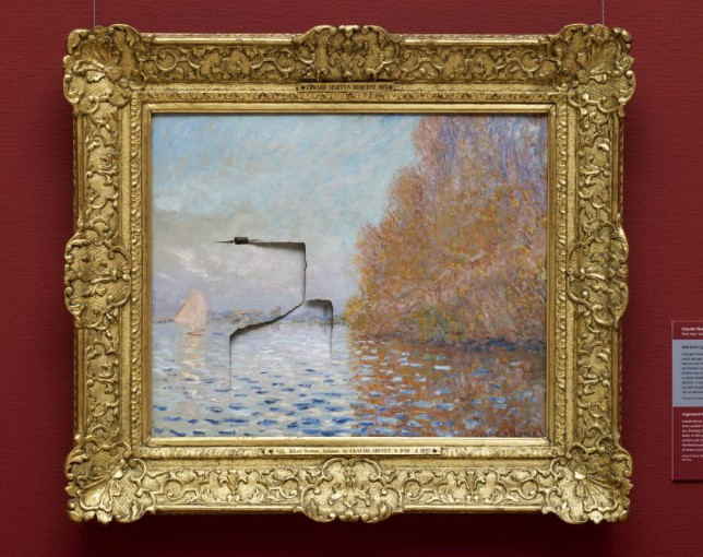 A Monet painting from the National Gallery that was badly damaged by a visitor,  Andrew Shannon from west Dublin by putting his fist through the painting on June 29, 2012.  The painting is titled 'Argenteuil Basin' with a Single Sailboat and depicts a quiet scene on the Seine.  It is estimated to be worth ¿10million and is one of only three Monet works in Ireland.  Aftre this incident, the painting has underwent a painstaking 18-month restoration process but now looks as good as new.  It is now protected by a glass screen. The restoration work was supported by BNP Paribas.     Picture 021