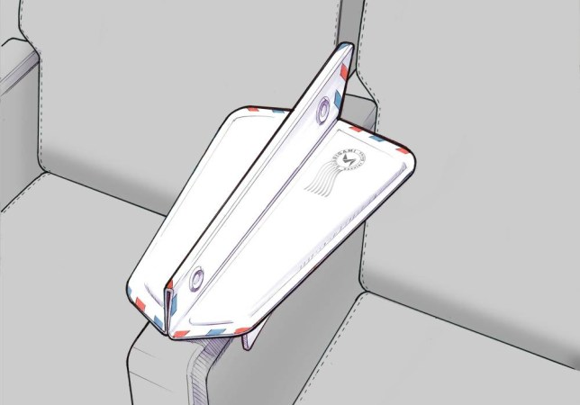 Soarigami Information:n nThe Soarigami is a patent-pending consumer travel product that ends the fight for armrest space in-flight. The device attaches onto any existing armrest to extend the space and allow two people to share the space comfortably. Unlike products like Knee Defender, Soarigami fosters a sharing environment that makes the skies just a bit friendlier, a bit savvier. n nInspired by an origami airplane, the Soarigami Airmail Edition folds up into a thin profile for easy transport. Upon execution, the device unfolds and clasps onto any armrest. The flex spring 'landing gear' clamps securely ground the unit to an existing armrest. The 'wings' become the new extended armrests, while the 'vertical stabilizer' acts as the barrier between two elbows.n nWe engaged a Silicon Valley design and engineering firm, clients include Apple and Audi, to help perfect the design. The latest prototype is currently in its final proof of concept testing. Our launch date is early 2015.n nFuture products include a Jet Setter Edition, where the device folds up to double as a sleek iPad/tablet/phone carrying case. This will be ready in time for 2015 holiday gifting.n n