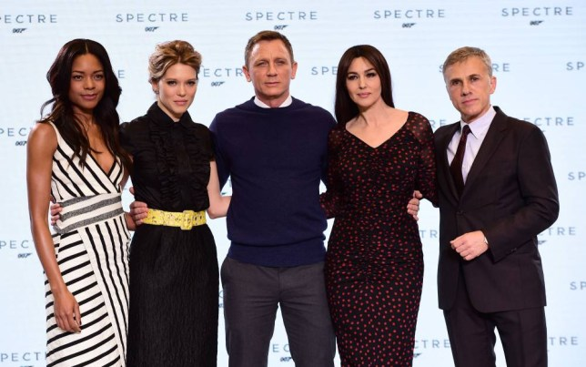 (left to right) Naomie Harris, Lea Seydoux, Daniel Craig, Monica Bellucci and Christoph Waltz at the revealing of the new James Bond film at pinewood Studio in Buckinghamshire. PRESS ASSOCIATION Photo. Picture date: Thursday December 4, 2014. The new 24th James Bond movie, which begins photography next week, will be called Spectre. See PA story SHOWBIZ Bond. Photo credit should read: Ian West/PA Wire