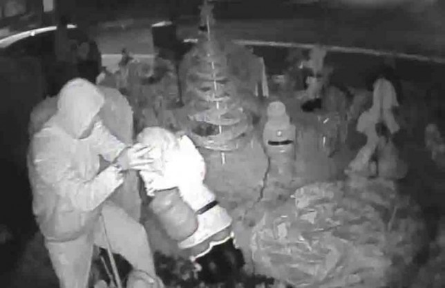 This is the moment Scrooge-like crooks struck at a Teesside couple¿s charity lights display, unaware they were being captured on camera.nThe brazen thieves have been branded ¿scum of the Earth¿ by fundraisers Geoff and Tina Patchett who have decked their Wincanton Road home at Redcar with festive lights and decorations for years, raising thousands for charity.nWearing a hooded tracksuit and casually smoking a cigarette, a man caught on the in-home CCTV can be clearly seen helping himself to a three-foot Santa while his accomplice in the background raids the rest of the garden, carrying what looks to be a pair of wire cutters.nAs reported in the Gazette on Saturday, other stolen items included a three-foot snowman, four or five smaller snowmen and a large gnome. They were worth around £200.nnCCTV screengrabs from the home of  Geoff and Tina Patchett on Wincanton Road in Redcar showing thieves stealing Christmas decorations from their charity display