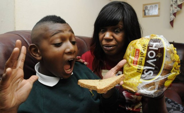BPM MEDIA Maxine Grizzle and her 10 year old son Amaarn from Handsworth, Birmingham who found a dead spider in a loaf of Hovis bread.