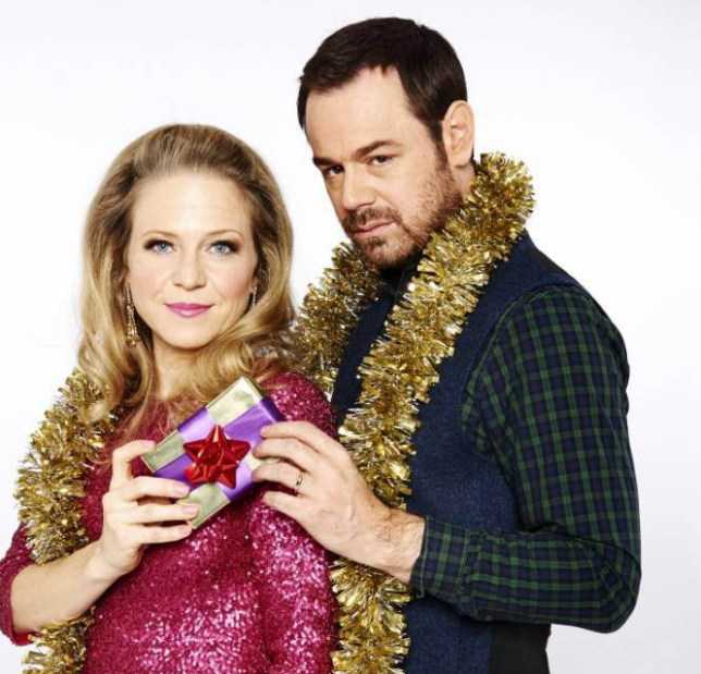 WARNING: Embargoed for publication until: 06/12/2014 - Programme Name: EastEnders - TX: 25/12/2014 - Episode: 4983 (No. n/a) - Picture Shows: Carters at Christmas. Linda Carter (KELLIE BRIGHT), Mick Carter (DANNY DYER) - (C) BBC - Photographer: Ray Burmiston