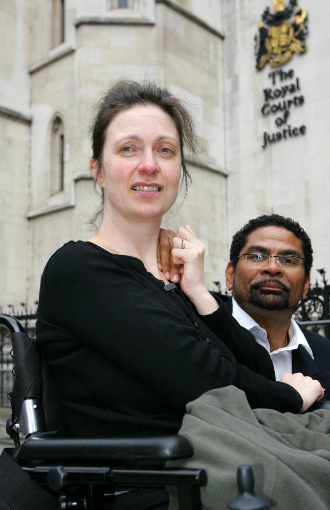 Mandatory Credit: Photo by REX (770548a)  Debbie Purdy arriving at the High Court with her husband Omar Puente  Multiple sclerosis sufferer Debbie Purdy at the High Court, London, Britain - 11 Jun 2008  A multiple sclerosis sufferer has won permission to bring a landmark High Court challenge to clarify the law on assisted suicide. Debbie Purdy, 45, wants to be able to choose to die if her condition becomes unbearably painful. However, her fear is that her husband Omar Puente could be arrested, and face 14 years in jail, if he travels with her to a clinic in Belgium or Switzerland to end her life. The couple were at the High Court in London today (11 June) seeking permission to challenge the refusal of the Director of Public Prosecutions, Sir Ken Macdonald, to reveal the policy or criteria he applies in cases of assisted suicide. Now two judges have granted her the right to challenge Macdonald's refusal to state a clear policy on whether, and in what circumstances, people might be prosecuted if they help loved ones to die. The case will come on for a full hearing in October.
