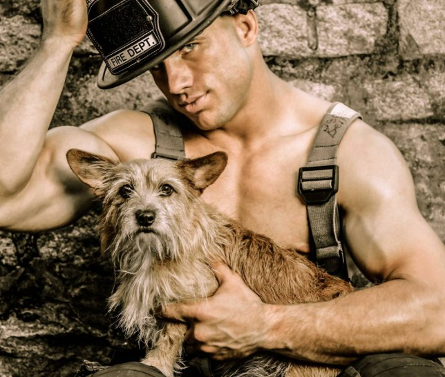 Charlston firefighter calendar 2015, front covernfor supporting the Charleston Animal Society