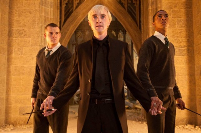 Film: Harry Potter And The Deathly Hallows Part 2 (2011) with Josh Herdman As Gregory Goyle, Tom Felton As Draco Malfoy And Louis Cordice As Blaise Zabini ,¿ a Warner Bros. Pictures release.