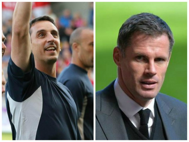 Gary Neville knows how to joke around with Jamie Carragher