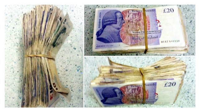 The bundle of cash which Kristian Down found in his shopping bag. (Picture: Masons)