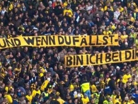Borussia Dortmund fans brilliantly support struggling team with 'if you fall I'm with you' banner