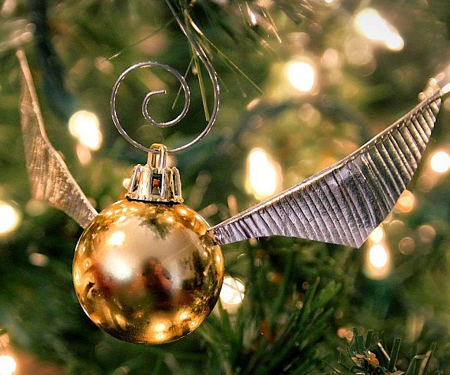You can make this golden snitch Christmas tree decoration at home