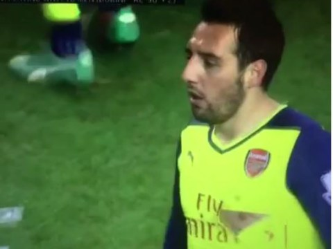 Liverpool striker Fabio Borini sent off against Arsenal for exposing Santi Cazorla's nipple with high challenge