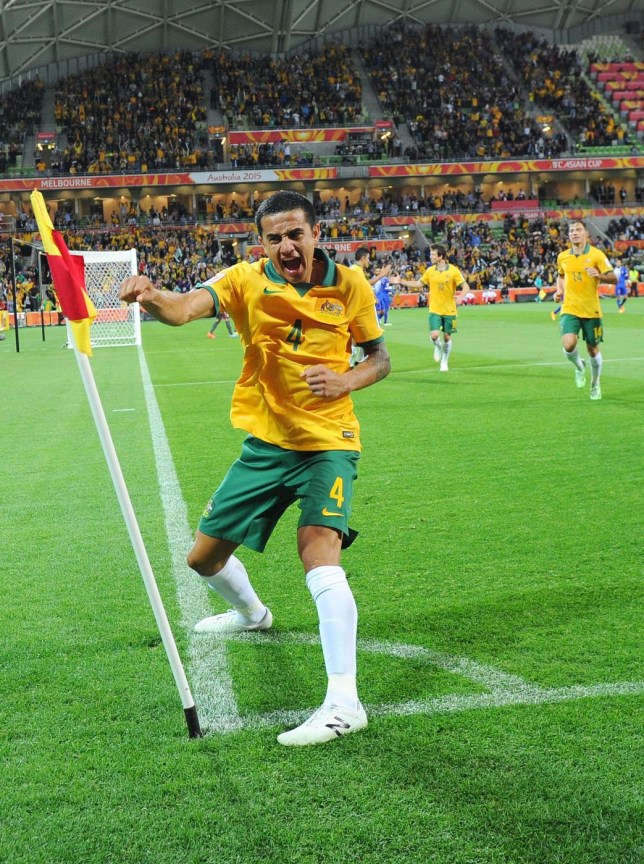 MELBOURNE, AUSTRALIA - JANUARY 09: Tim Cahill of Australia celebrates scoring his first goal in the first half during the 2015 Asian Cup match between the Australian Socceroos and Kuwait at AAMI Park on January 9, 2015 in Melbourne, Australia. Vince Caligiuri/Getty Images