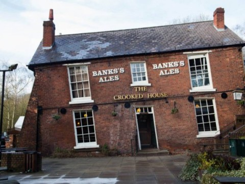 Don't worry. It's not you. This pub really is 'drunk'