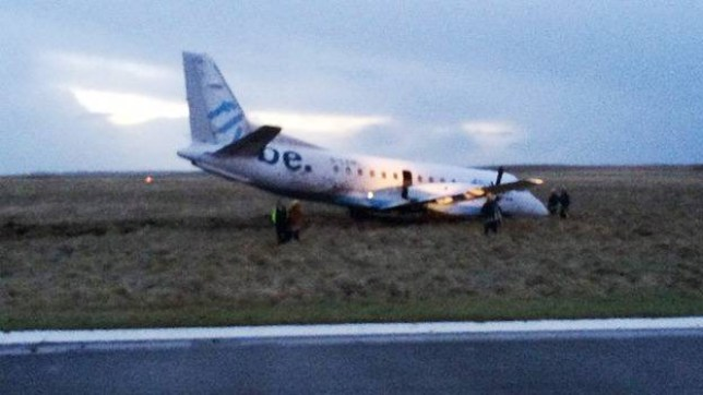 """A plane has been blown off the runway at Stornoway airport in the Isle of Lewis. It is believed the wheel of the plane collapsed during heavy winds on the Scottish island. All passengers on board the plane are reported to have escaped without any injuries. Meanwhile, a Blue Island Airways plane had to be diverted from London City Airport to Southend Airport in Essex this morning after an engine fire. The plane had been travelling from Jersey. The fire was put out by the plane's automatic systems before it landed safely around 8.30am. There were no injuries to the 28 passengers and three crew on board, according to Essex Fire and Rescue. Divisional officer Neil Fenwick, who attended the incident, said: """"This had the potential to be an extremely serious incident but everything which should happen in a situation like this did and the plane was able to land safely."""""""