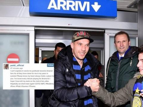 Lukas Podolski posts farewell message to Arsenal fans as he nears Inter Milan loan move