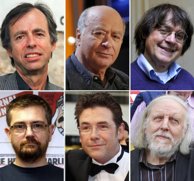 A combination of file photos made on January 7, 2015 shows (from L up) French satirical weekly Charlie Hebdo's deputy chief editor  Bernard Maris and cartoonists Georges Wolinski, Jean Cabut, aka Cabu, Charb, Tignous and Honore (Philippe Honore). At least 12 people were killed, including cartoonists Charb, WolinsKi, Cabu and Tignous and deputy chief editor Bernard Maris when gunmen armed with Kalashnikovs and a rocket-launcher opened fire in the Paris offices of French satirical weekly Charlie Hebdo on January 7, 2015.  AFP PHOTO / GUILLAUME BAPTISTE / BERTRAND GUAY / FRANCOIS GUILLOT / FRANCOIS GUILLOTGUILLAUME BAPTISTE/AFP/Getty Images