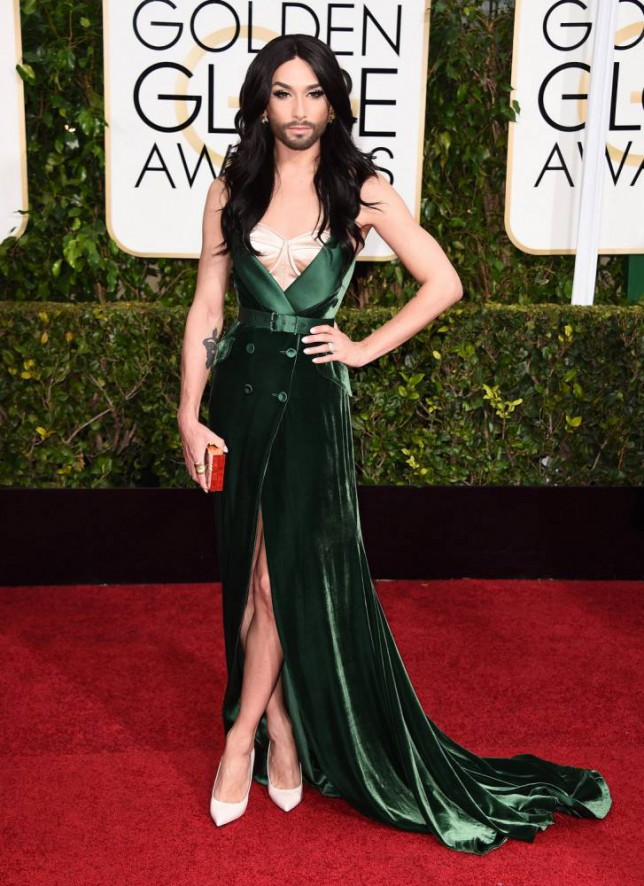 Conchita Wurst arrives at the 72nd annual Golden Globe Awards at the Beverly Hilton Hotel on Sunday, Jan. 11, 2015, in Beverly Hills, Calif. (Photo by Jordan Strauss/Invision/AP)