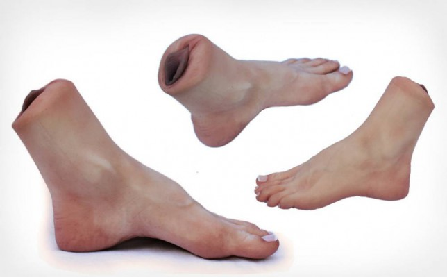 Silicone SHORT Feet - Vajankle These quirky feet have a vagina built right in at the ankle! The vajankle is in the left foot only. You can order the vajankle independently, or as a pair with the standard right foot. Vajankles are from the Style A feet. $179.00 USD http://www.sinthetics.biz/ Credit: Sin Boutique