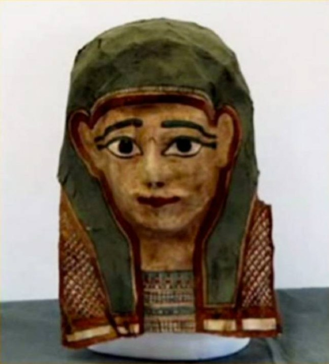 This mummy mask was one of the masks that the researchers took apart to reveal ancient papyri. This mummy mask is similar to the one that contained the first century gospel fragment. Credit: Courtesy of Prof. Craig Evans