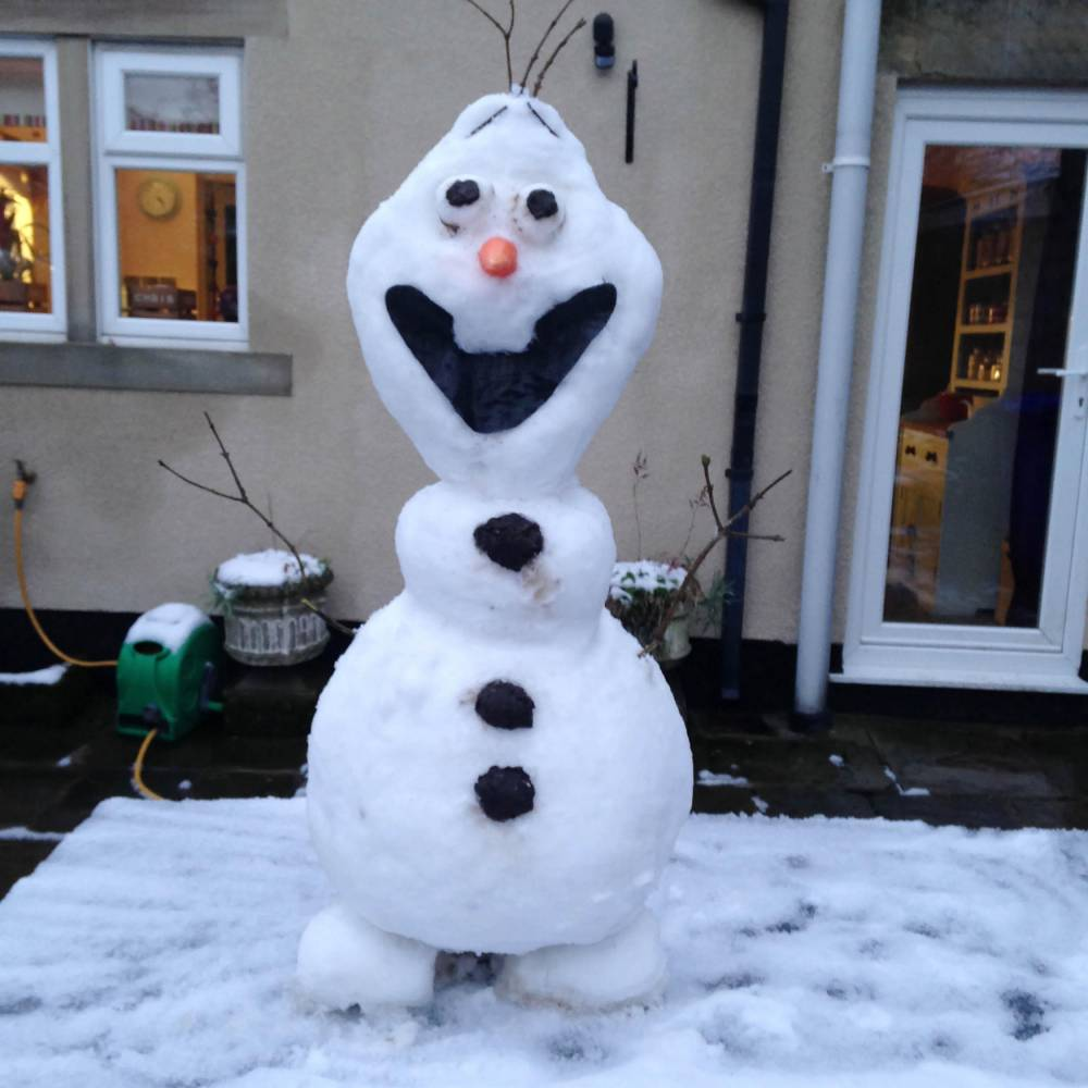"""PIC BY CHRIS BYRD / MERCURY PRESS - (PICTURED: OLAF THE SNOWMAN) A woman created an exact replica of everyone's favourite snowman Olaf after being haunted by the catchy lyrics from the hit Disney film. Alice Byrd, from Mottram, Cheshire, had watched Frozen with her husband Chris and five-month-old daughter Maggie days before the bad weather hit the North West. But the 30-year-old couldn't shift the song 'Do you want to build a snowman' from her head and decided to recreate the film's comical snowman Olaf in her back garden. Alice, who runs her own bakery company, said: """"It had snowed and I had the song 'Do you want to build a snowman' stuck in my head and I thought - yes I do...SEE MERCURY COPY"""