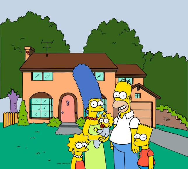 """FILE - This undated frame from the Fox series """"The Simpsons,"""" shows the popular cartoon family posing in front of their home, from left, Lisa Simpson, Marge Simpson, Maggie Simpson, Homer Simpson and Bart Simpson.  (AP Photo/Fox Broacasting Co.)"""