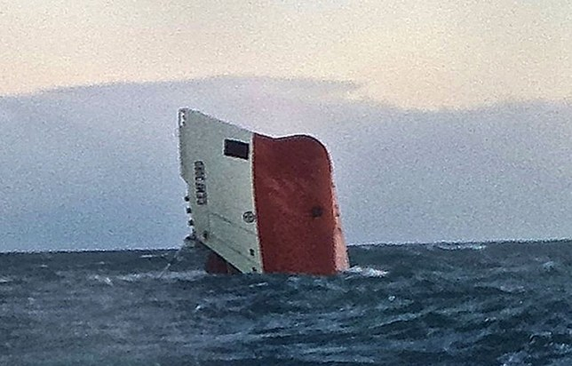 The capsized vessel, Cemfjords, was manned by an eight man crew (Picture: PA)