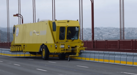 The new Golden Gate Bridge 'zipper trucks' are oddly mesmerising