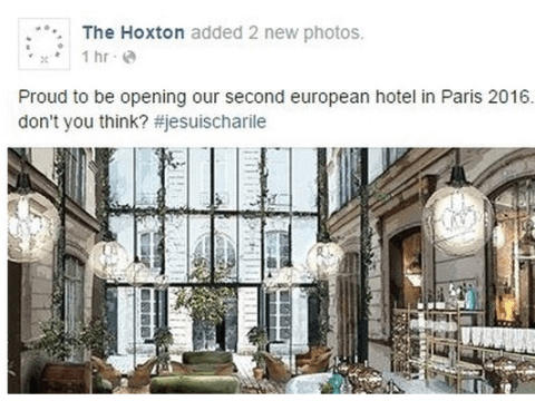 Hotel accused of using Charlie Hebdo massacre to promote new branch with #jesuischarlie hashtag