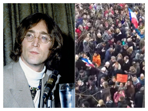 Watch what happened when someone played John Lennon's Imagine during the March of Unity