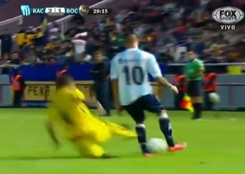 Boca Juniors defender's horror-tackle sees him red carded in pre-season friendly