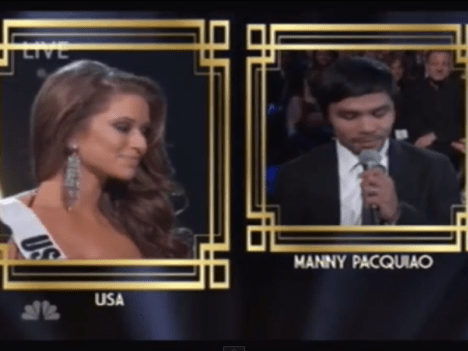 Awkward… Manny Pacquiao gives Miss Universe contestant a surprise with question about global terrorism