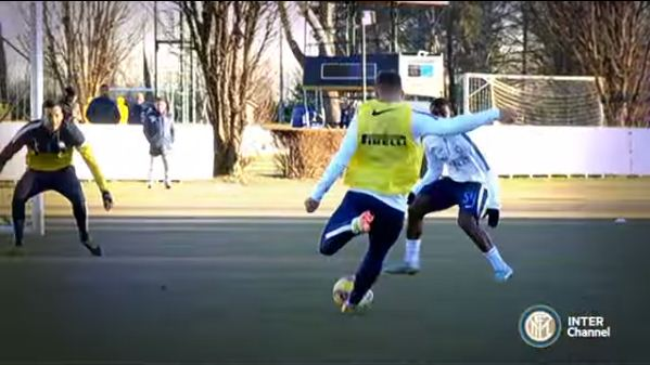 Lukas Podolski shows Arsenal what they're missing with rocket goal in first Inter Milan training session