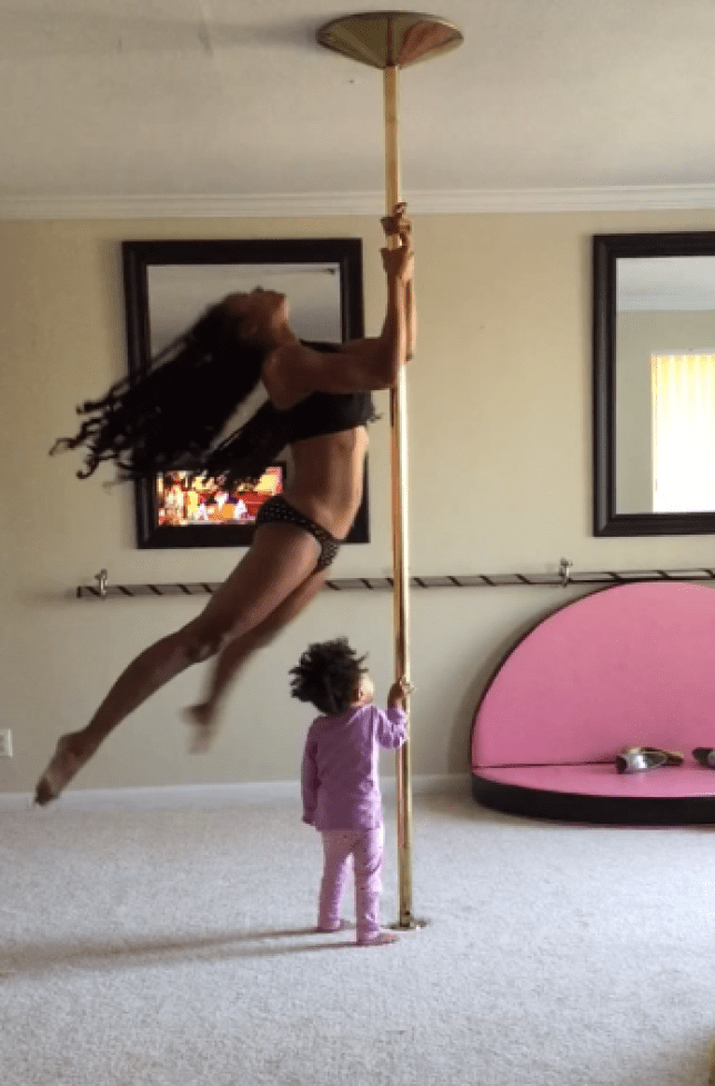 Pole dancer Ashley Wright dancing in front of her daughter