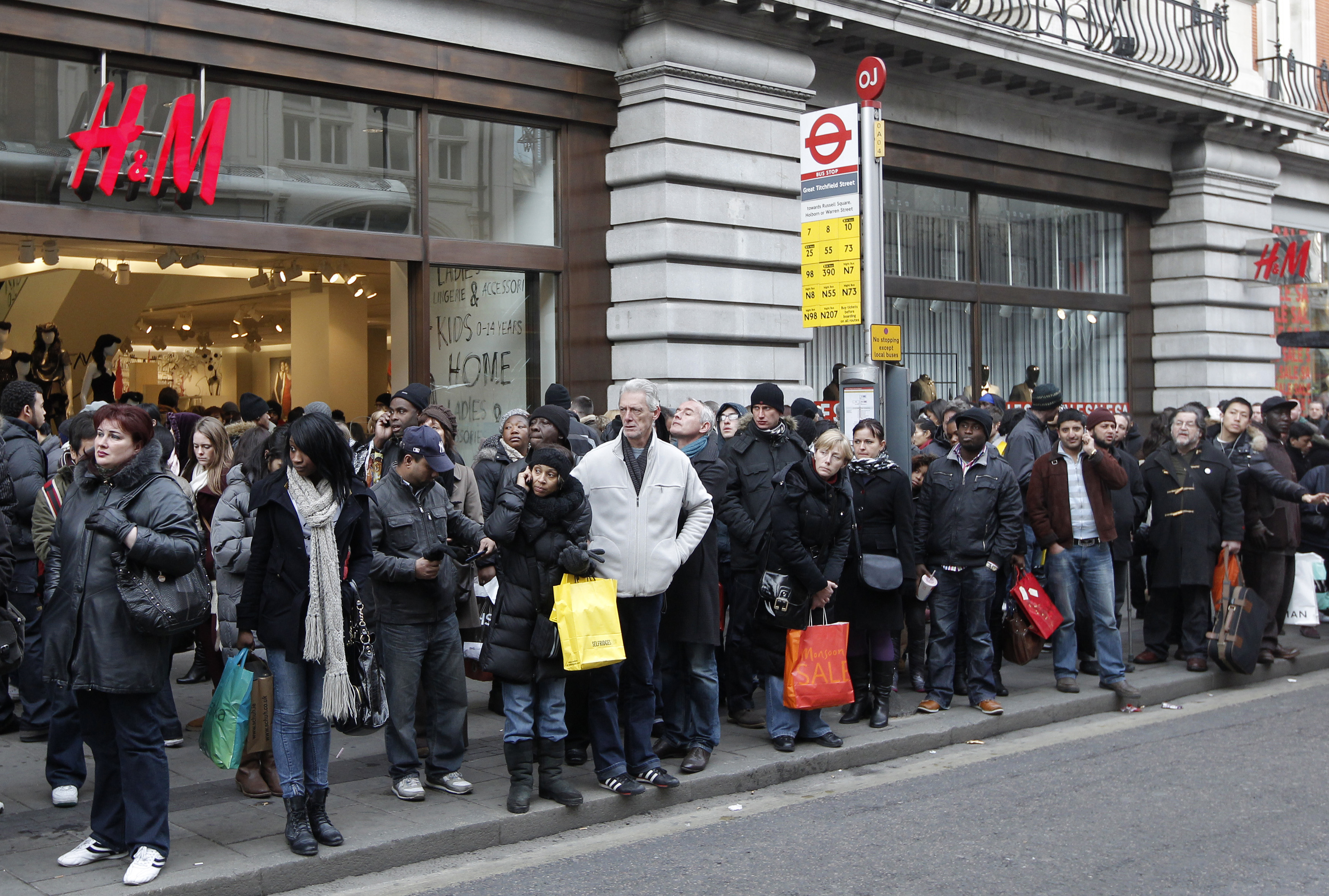 Bus queues build up on Oxford Street, during a London Underground strike, in central London