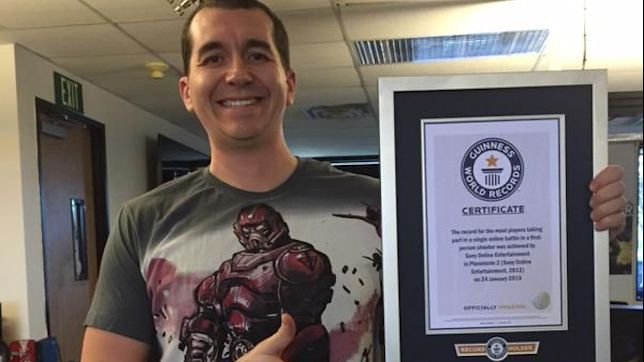 PlanetSide 2 producer David Carey picks up the award