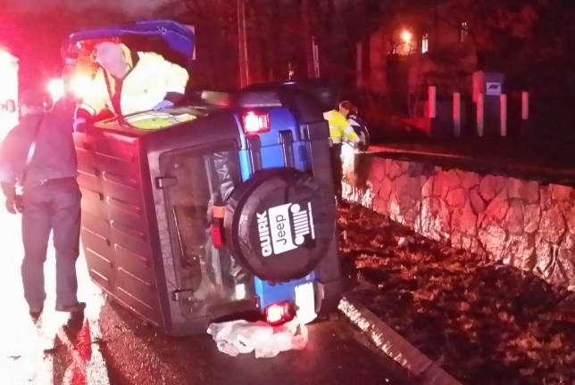 Vince Wilfork rollover crash help (Picture: Massachussetts State Police)