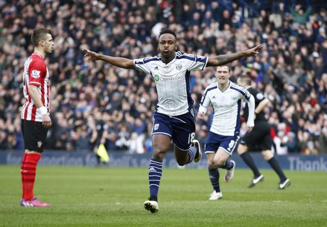 Saido Berahino celebrates after scoring an absolute stunner against Southampton