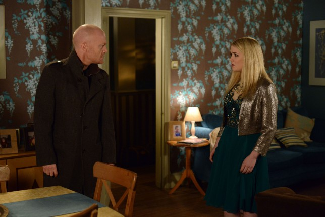 WARNING: Embargoed for publication until 17/02/2015 - Programme Name: EastEnders - TX: 17/02/2015 - Episode: 5015 (No. n/a) - Picture Shows: Max accuses Abi.  Max Branning (JAKE WOOD), Abi Branning (LORNA FITZGERALD) - (C) BBC - Photographer: Kieron McCarron