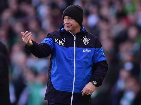 Glasgow Rangers manager Kenny McDowall puts the boot into Newcastle United owner Mike Ashley
