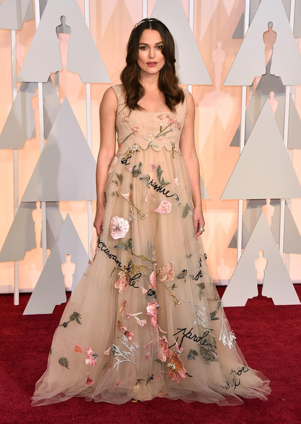 Keira Knightley arrives at the Oscars on Sunday, Feb. 22, 2015, at the Dolby Theatre in Los Angeles. (Photo by Jordan Strauss/Invision/AP) Jordan Strauss/Invision/AP
