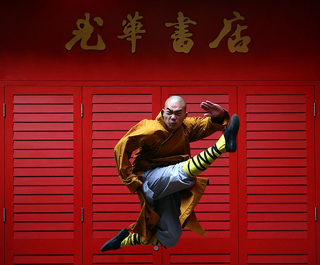 Strike a pose: Shaolin Kung Fu masters are in London. (Photo by Carl Court/Getty Images)