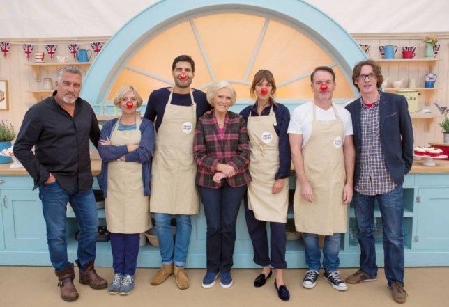 Embargoed to 0001 Tuesday February 3. For use in UK, Ireland or Benelux countries only. BBC undated file handout photo of (left to right) Paul Hollywood, Victoria Wood, Kayvan Novak, Mary Berry, Alexa Chung, Chris Moyles and Ed Byrne, who are taking part in the The Great Comic Relief Bake Off. PRESS ASSOCIATION Photo. Issue date date: Tuesday February 3, 2015. See PA story. Photo credit should read: BBC/PA Wire NOTE TO EDITORS: Not for use more than 21 days after issue. You may use this picture without charge only for the purpose of publicising or reporting on current BBC programming, personnel or other BBC output or activity within 21 days of issue. Any use after that time MUST be cleared through BBC Picture Publicity. Please credit the image to the BBC and any named photographer or independent programme maker, as described in the caption.